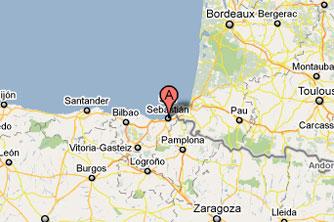 San Sebastian Spagna Cartina.San Sebastian Donostia